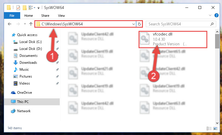Pasting the Vfcodec.dll file into the Windows/sysWOW64 folder