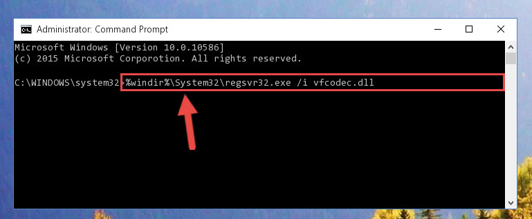 Reregistering the Vfcodec.dll file in the system