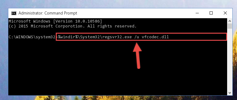 Uninstalling the Vfcodec.dll file from the system registry