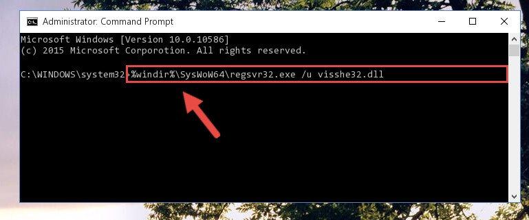 Uninstalling the Visshe32.dll library's problematic registry from Regedit (for 64 Bit)