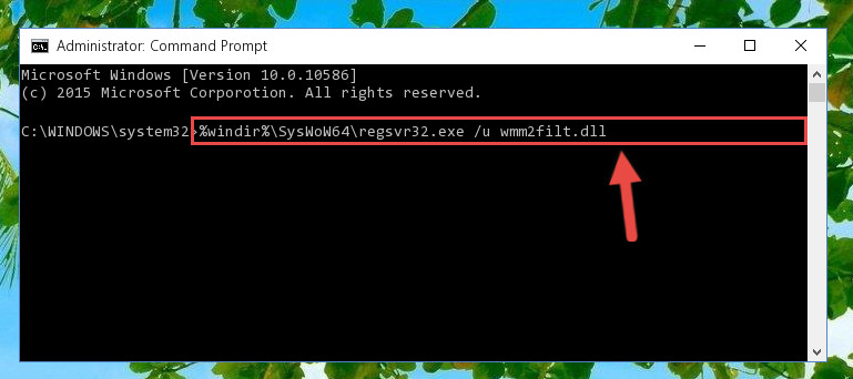Uninstalling the damaged Wmm2filt.dll library's registry from the system (for 64 Bit)