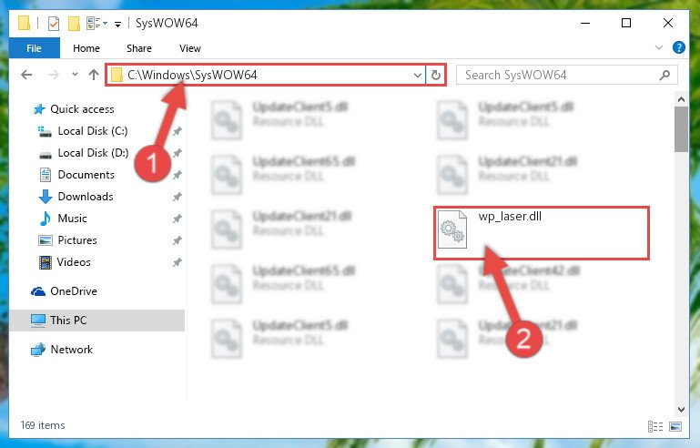 Pasting the Wp_laser.dll file into the Windows/sysWOW64 folder