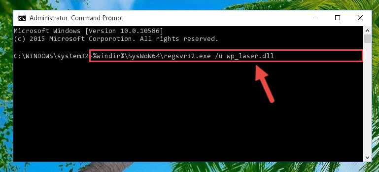 Uninstalling the damaged Wp_laser.dll file's registry from the system (for 64 Bit)