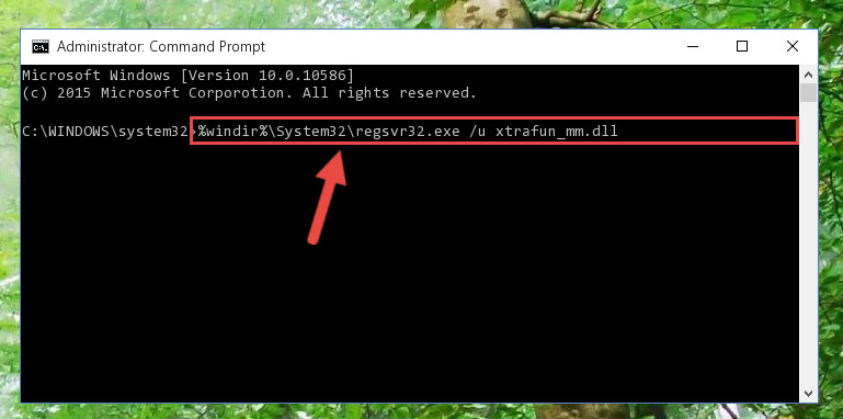 Deleting the damaged registry of the Xtrafun_mm.dll