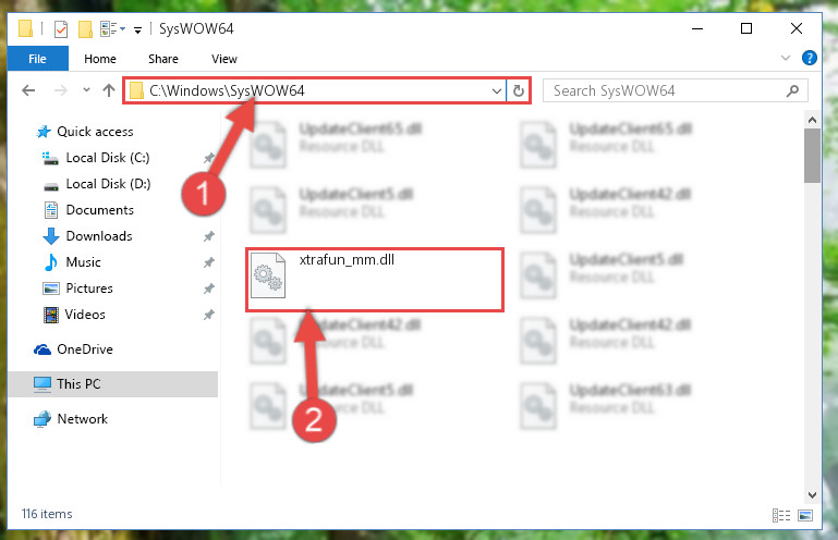 Pasting the Xtrafun_mm.dll file into the Windows/sysWOW64 folder