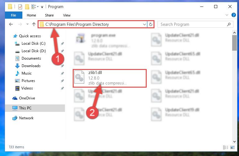 Choosing the Zlib1.dll file
