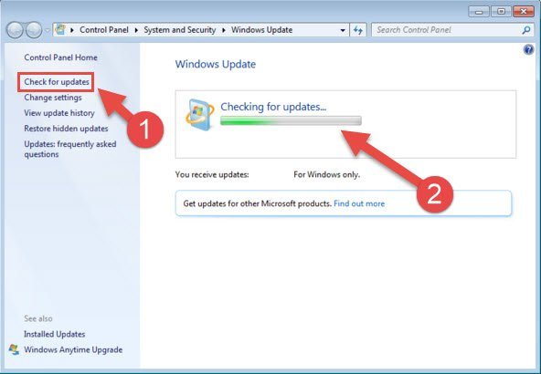 Step 2: Checking for Windows 7 and Windows Vista updates