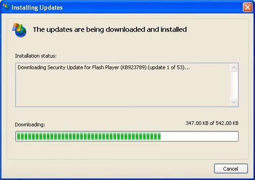 Step 5: Windows XP updates are being downloaded