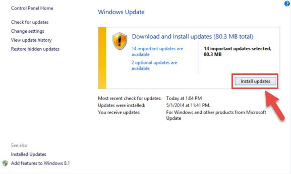 Step 4: Installing Windows 8.1 / 8 updates